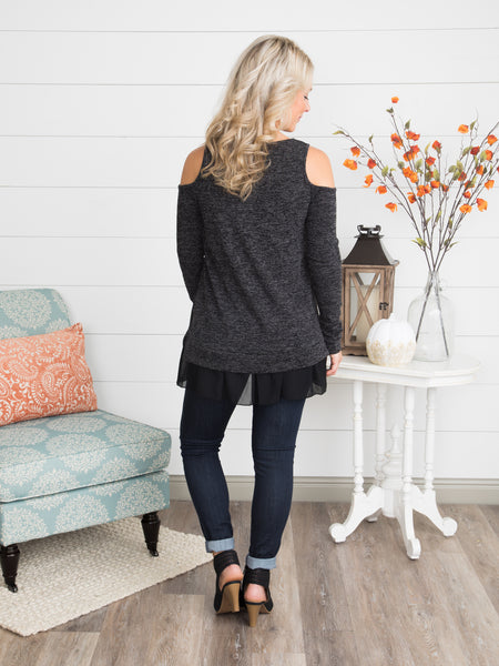 Be Gracious Open-Shoulder Top - Charcoal