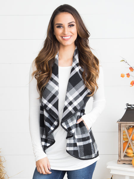 On The Go Plaid Vest - Charcoal