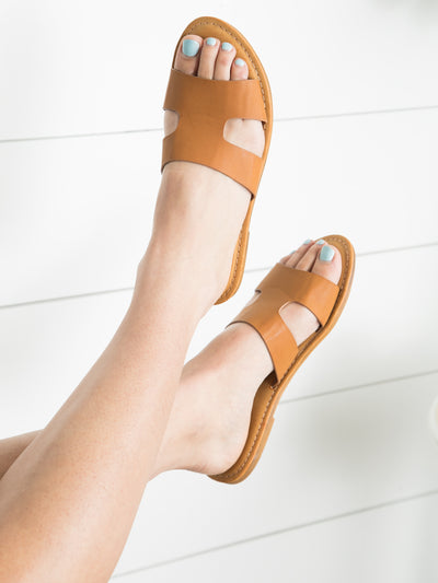 Goldie Slide Sandals - Cognac