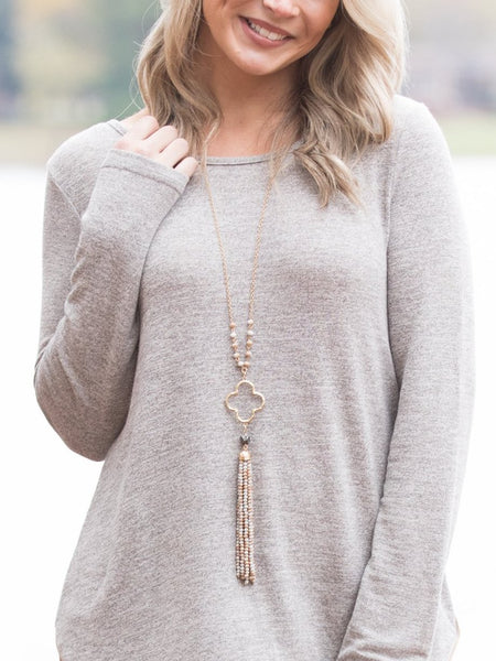 Ava Tassel Necklace - Taupe