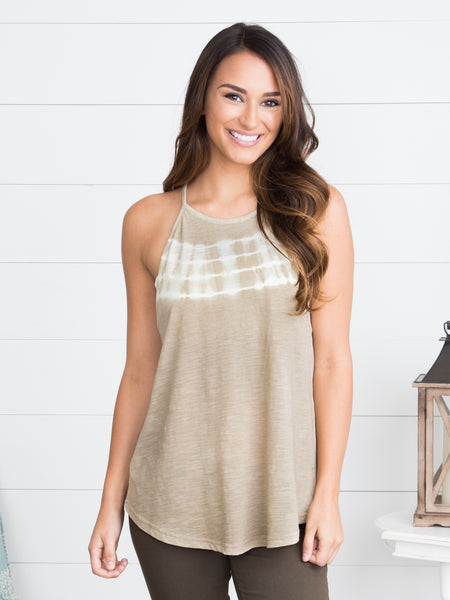 After The Rain Tie Dye Halter - Taupe