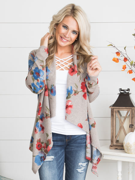 More Than One Way Floral Cardigan - Oatmeal
