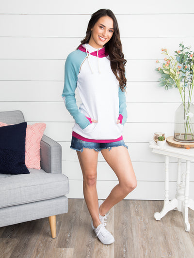 Sunrise Side-Zip Hoodie - Sky Blue/Magenta
