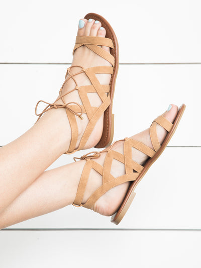 Sipping On Sunshine Lace Up Sandal - Tan