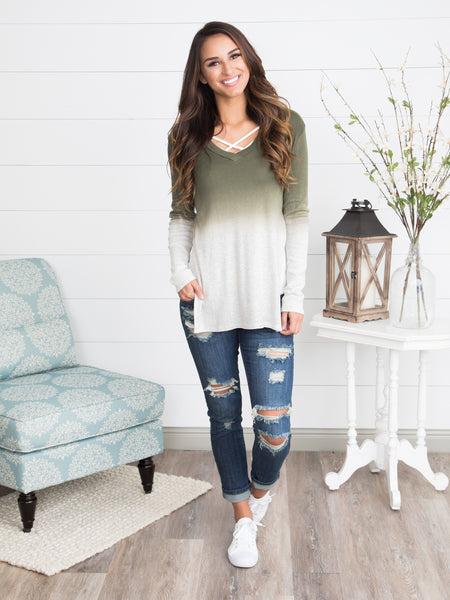 The Avalon Ombre Top - Olive