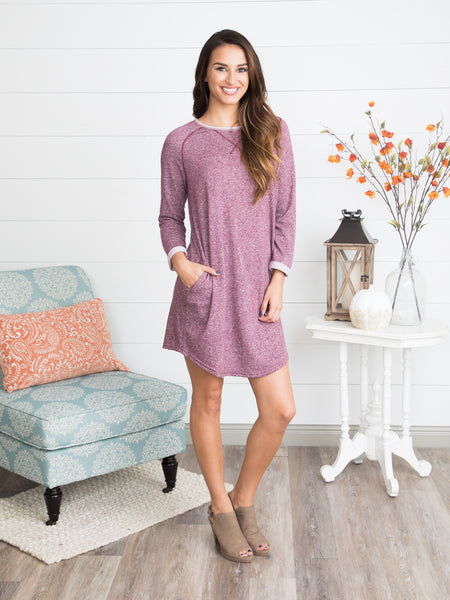 Close Your Eyes Cozy Tunic Dress - Heather Burgundy