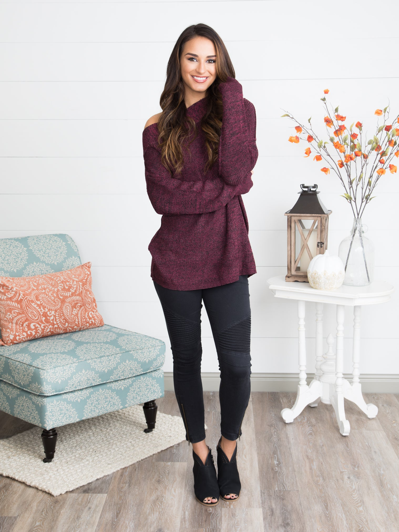5fe2ee50f5 Late To The Party Off-Shoulder Sweater - Deep Burgundy - Eleven Oaks  Boutique
