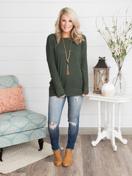 So Smitten Knot Back Top - Forest