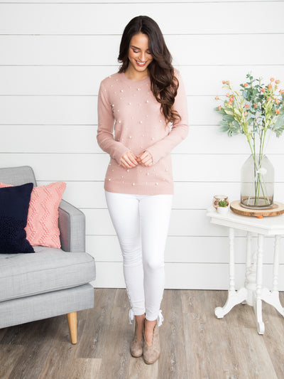 Secret Admirer Pearl Studded Sweater - Mauve