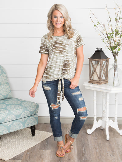 Let's Get Lost Knot Top - Olive