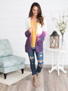 Only One Ombre Cardigan - Ivory/Violet