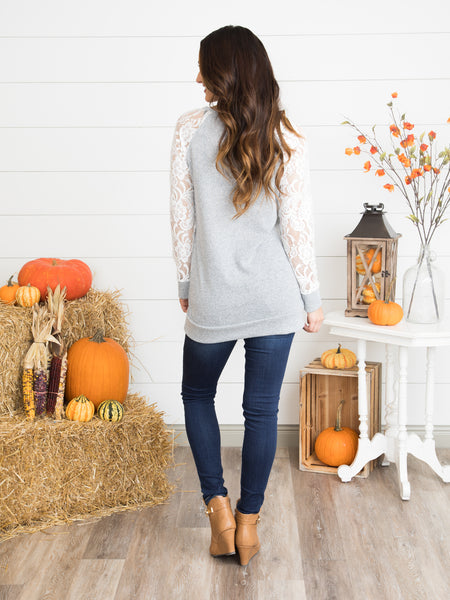 More Than Love Lace Top - Heather Grey