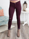 Lea Distressed Skinny Jeans - Burgundy