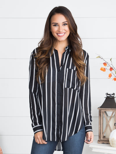 No Secrets Stripe Button-Down - Black