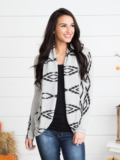 All I Ever Wanted Printed Cardigan - Heather Grey