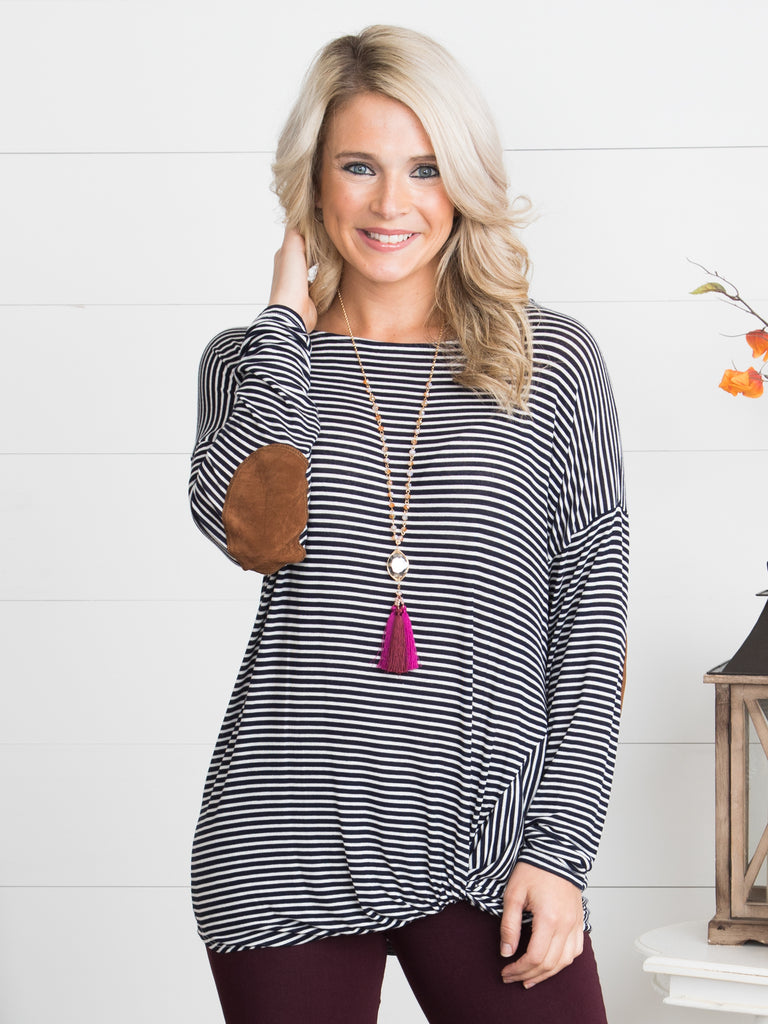 Meet Me There Striped Top - Navy
