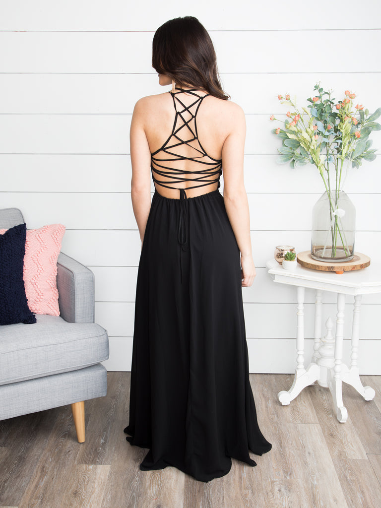 A Flawless Engagement Lace Up Dress - Black