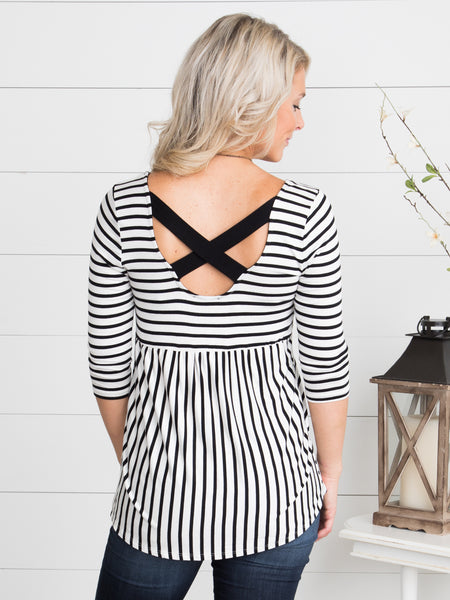 Haven Cross-Back Top - Off White/Black
