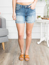 Kara Cuffed Distressed Shorts - Medium Wash