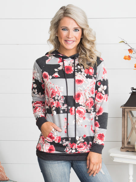 Petals On Stripes Hoodie - Poppy/Charcoal
