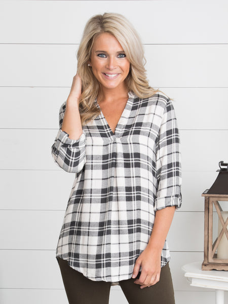 Someday Plaid Top - Ivory