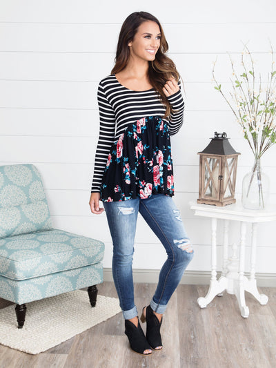 Love At First Sight Peplum Top - Black