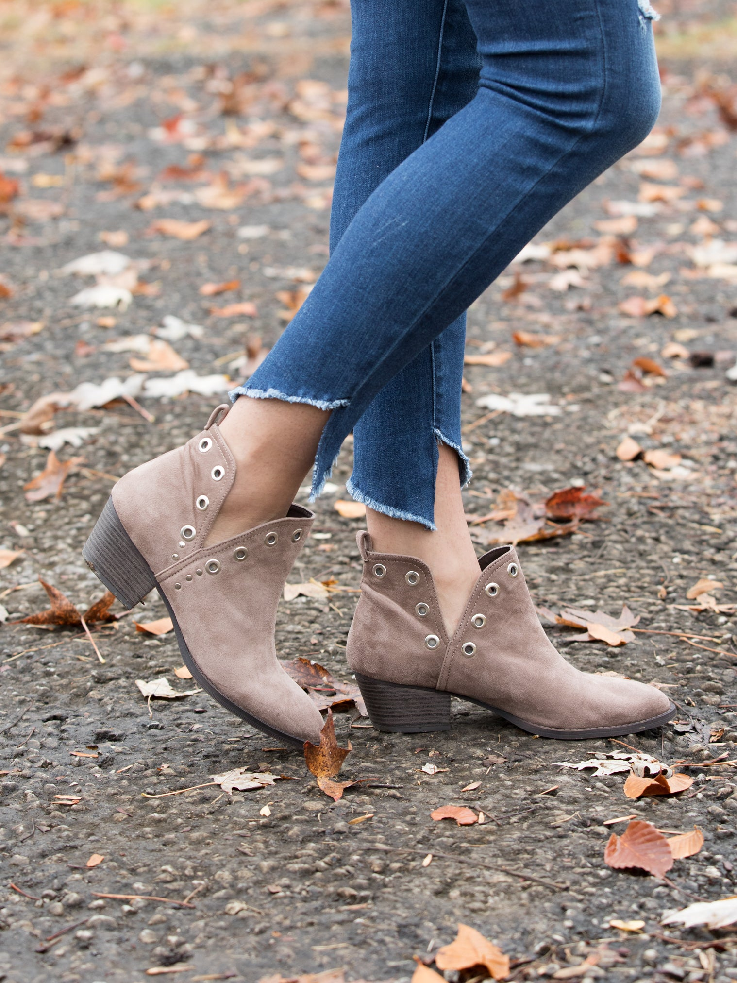 5e49f3007f89 Chinese Laundry Catt Cutout Bootie - Taupe - Eleven Oaks Boutique