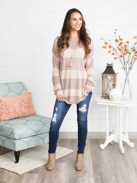 Let's Take A Chance Open-Shoulder Striped Tunic- Taupe
