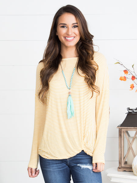 Meet Me There Striped Top - Mustard