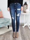 Ashlyn Distressed Skinny Jeans - Dark Wash