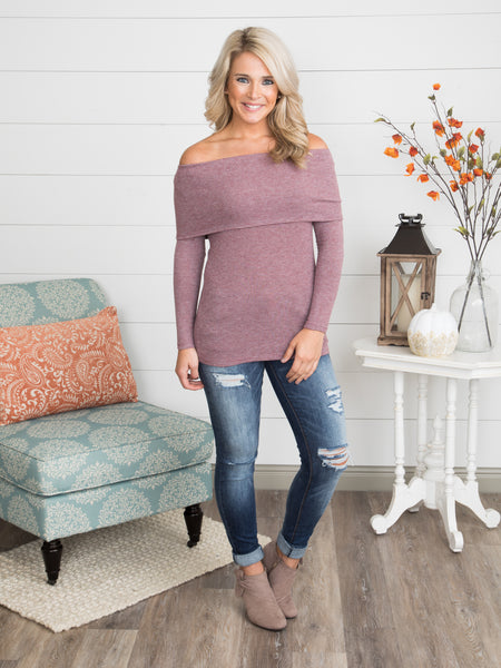 McKenzie Off-Shoulder Top - Mauve