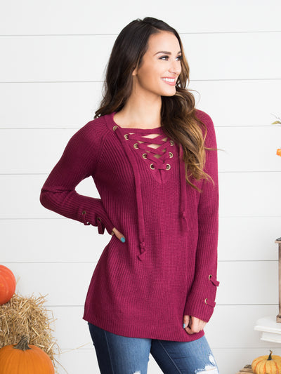 Love Letter Lace-Up Sweater - Berry
