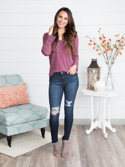 Linnea Lace Sleeve Top - Dusty Plum