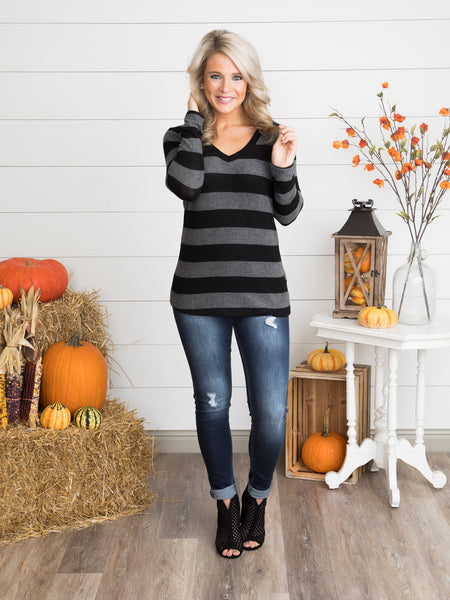 In The Moment Stripe Top - Charcoal