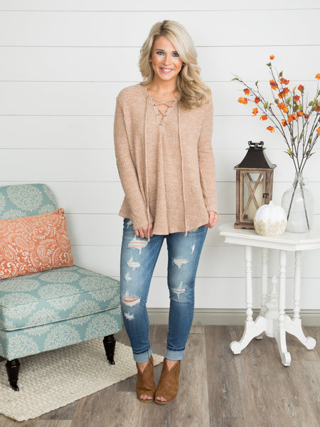 Dawsyn Elbow Patch Top - Camel