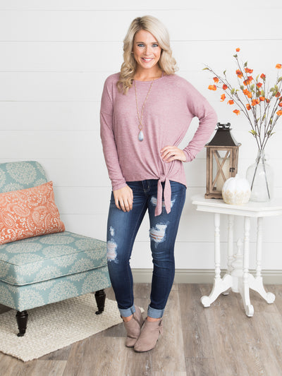 Livia Knot Top - Heather Rose