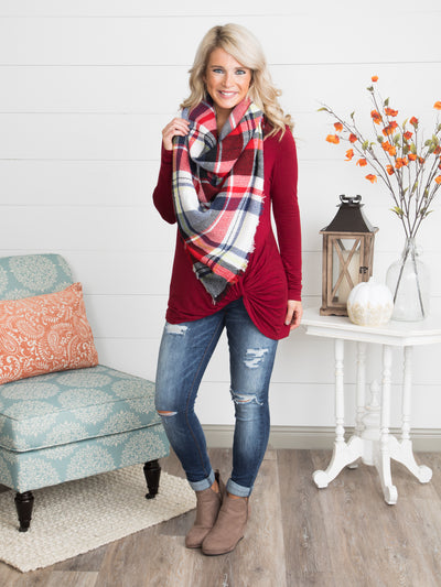 The Perfect Blanket Scarf - Navy/Red