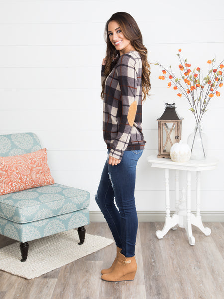 Not Plaid About It Elbow Patch Top - Black