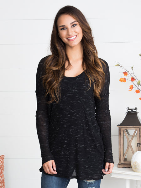 New Flame V-Neck Sweater - Heather Black