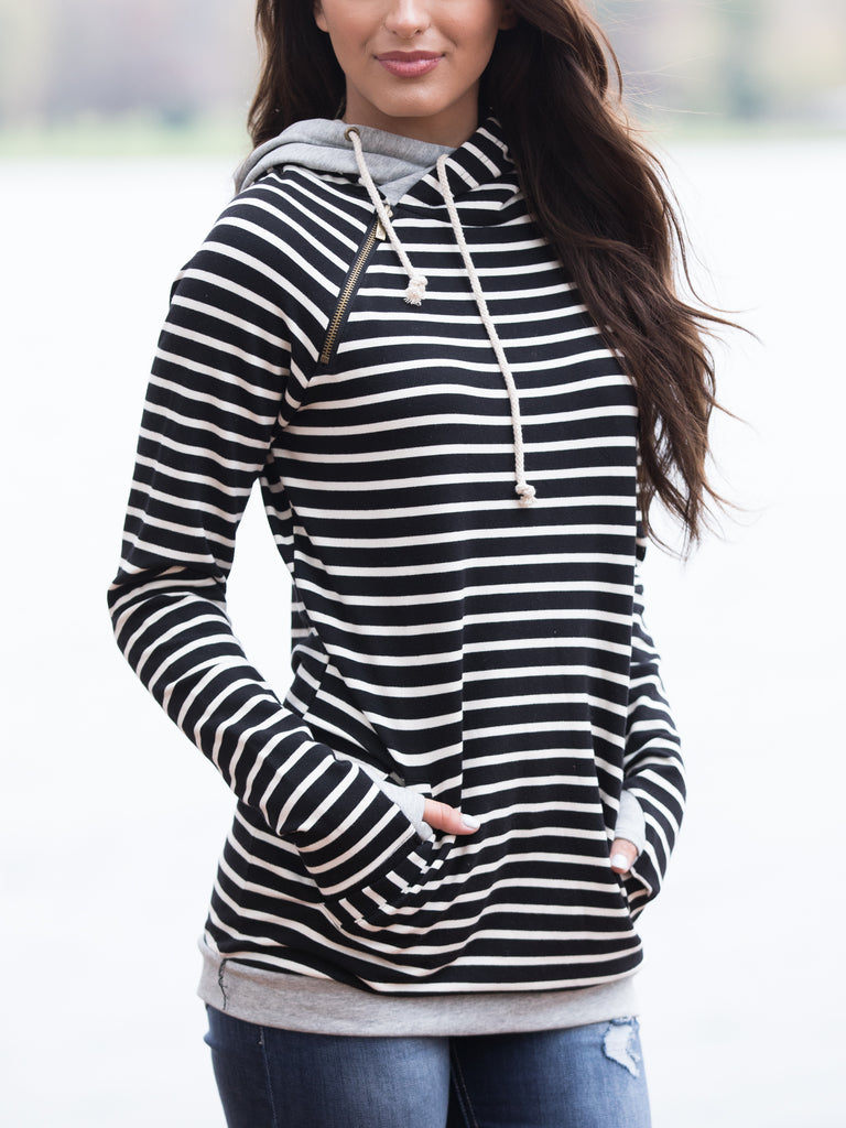 Sunrise Side-Zip Hoodie - Black/White