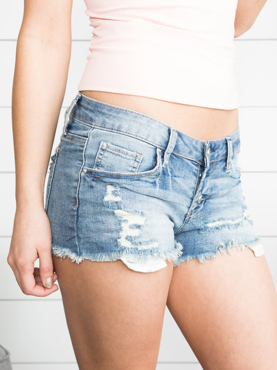 Sweet As Summer Distressed Shorts - Medium Wash