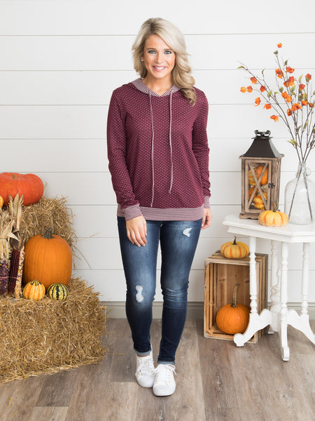 All About Her Mixed Media Hoodie - Maroon