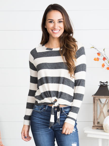 Annistyn Striped Knot Top - Charcoal/Ivory