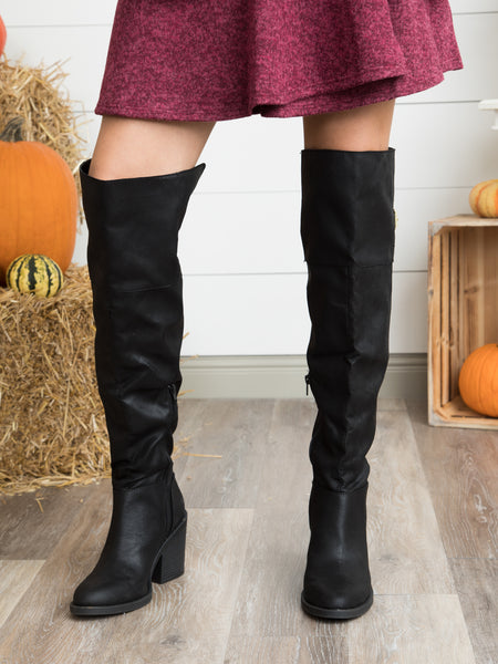 Camilla Over The Knee Boot - Black
