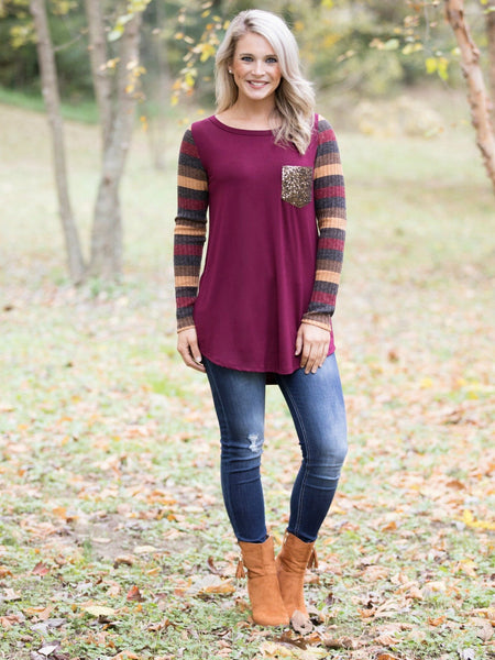 Say It Sweetly Sequin Pocket Top - Burgundy