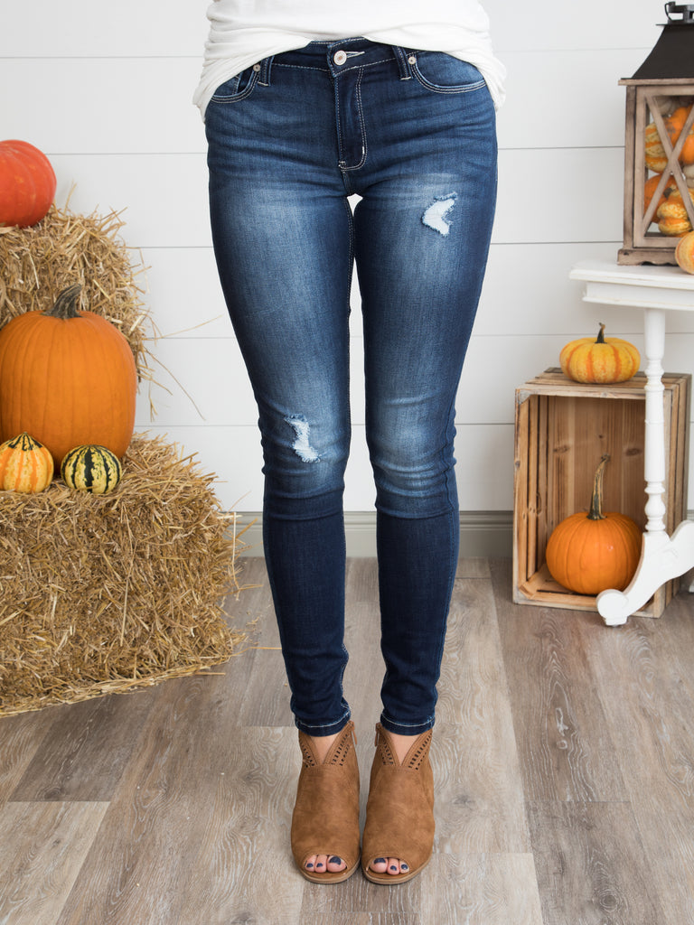 Torin Distressed Skinny Jeans - Dark Wash
