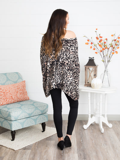 On The Hunt Leopard Poncho - Multi