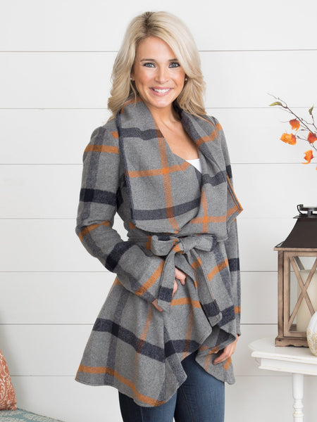 Simply Fabulous Plaid Jacket - Charcoal
