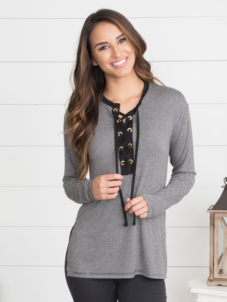 Around The World Lace-Up Top - Grey/Black
