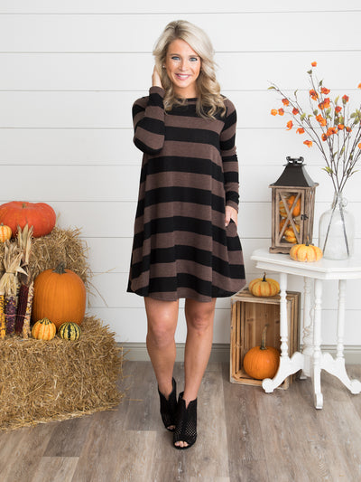 Saving Memories Stripe Swing Dress - Espresso/Black